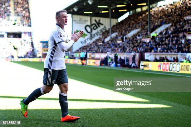 Wayne Rooney of Manchester United applauds the fans during the Premier League match between Burnley and Manchester United at Turf Moor on April 23...