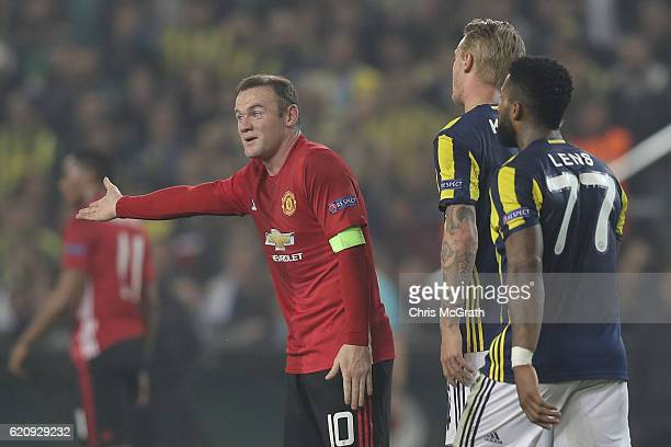 Wayne Rooney of Manchester United argues a referees decision during the UEFA Europa League Group A match between Fenerbahce SK and Manchester United...