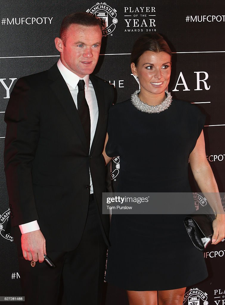 Wayne Rooney of Manchester United arrives with his wife Coleen Rooney at the club's annual Player of the Year awards at Old Trafford on May 2, 2016 in Manchester, England.
