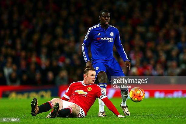 Wayne Rooney of Manchester United battles for the ball with Kurt Zouma of Chelsea during the Barclays Premier League match between Manchester United...
