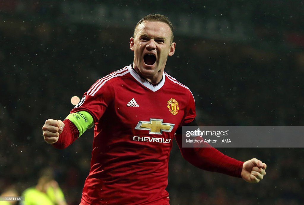 <a gi-track='captionPersonalityLinkClicked' href=/galleries/search?phrase=Wayne+Rooney&family=editorial&specificpeople=157598 ng-click='$event.stopPropagation()'>Wayne Rooney</a> of Manchester United celebrates after scoring a goal to make it 1-0 during the UEFA Champions League match between Manchester United FC and PFC CSKA Moskva on November 3, 2015 in Manchester, United Kingdom.