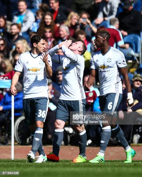 Wayne Rooney of Manchester United celebrates after scoring a goal to make it 02 during the Premier League match between Burnley and Manchester United...