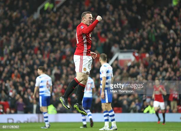 Wayne Rooney of Manchester United celebrates as he scores his first sides first goal during the Emirates FA Cup third round match between Manchester...