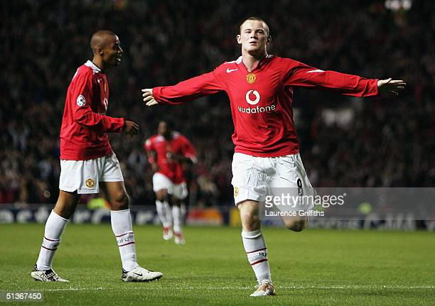 Wayne Rooney of Manchester United celebrates his second goal during the UEFA Champions League Group D match between Manchester United and Fenerbahce...