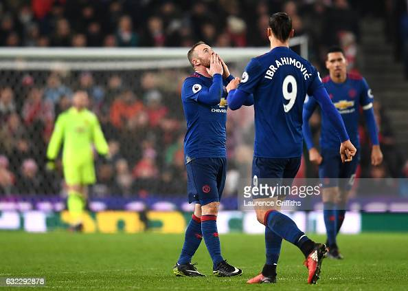 Wayne Rooney of Manchester United celebrates scoring his sides first goal with Zlatan Ibrahimovic of Manchester United during the Premier League...
