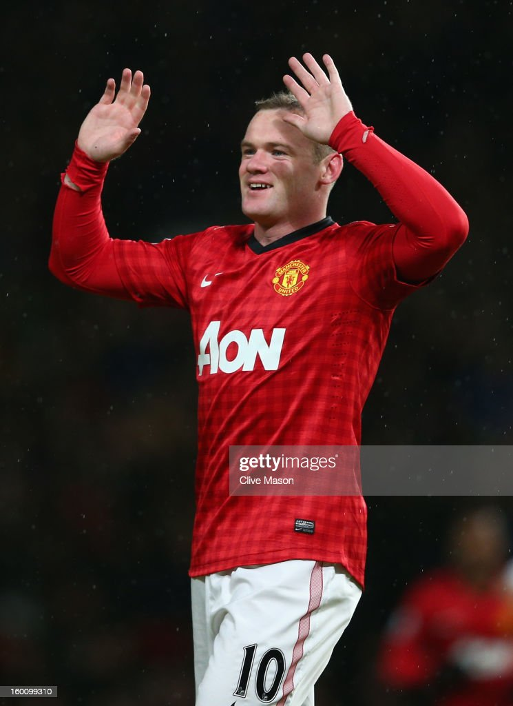 <a gi-track='captionPersonalityLinkClicked' href=/galleries/search?phrase=Wayne+Rooney&family=editorial&specificpeople=157598 ng-click='$event.stopPropagation()'>Wayne Rooney</a> of Manchester United celebrates scoring his team's second goal during the FA Cup with Budweiser Fourth Round match between Manchester United and Fulham at Old Trafford on January 26, 2013 in Manchester, England.