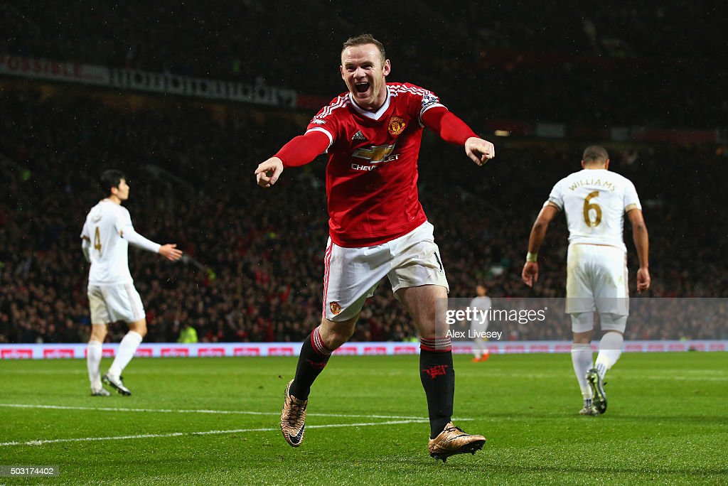 Wayne Rooney of Manchester United celebrates scoring his team's second goal during the Barclays Premier League match between Manchester United and Swansea City at Old Trafford on January 2, 2016 in Manchester, England.