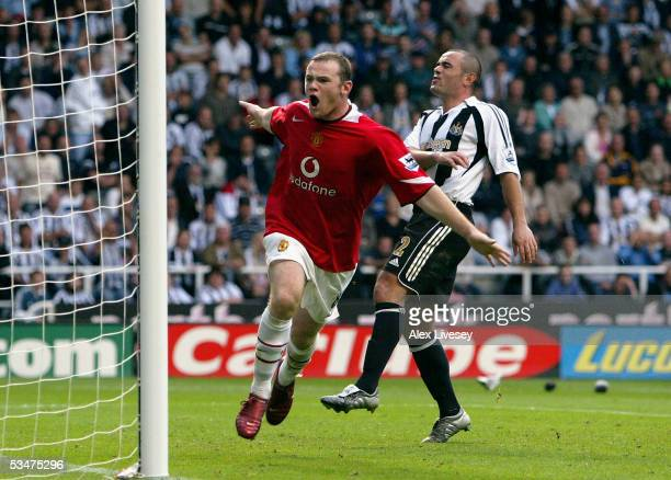 Wayne Rooney of Manchester United celebrates scoring the first goal during the Barclays Premiership match between Newcastle United and Manchester...