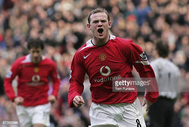 Wayne Rooney of Manchester United celebrates scoring the first goal during the Barclays Premiership match between Manchester United and Arsenal at...