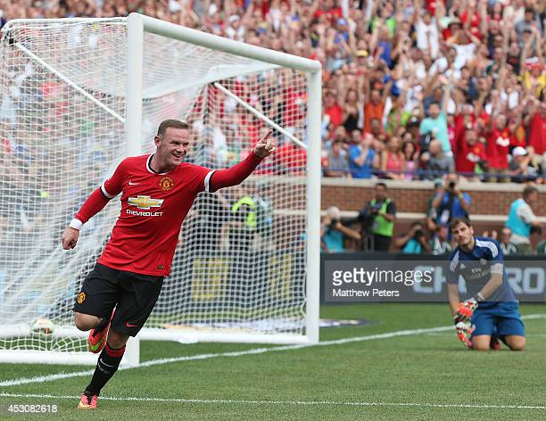 Wayne Rooney of Manchester United celebrates scoring the second goal during the preseason friendly match between Manchester United and Real Madrid at...
