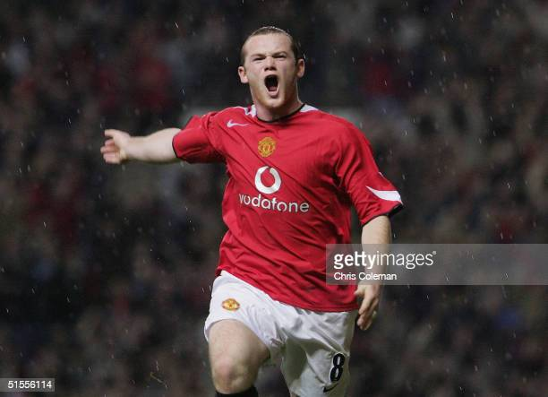 Wayne Rooney of Manchester United celebrates scoring the second goal during the Barclays Premiership match between Manchester United and Arsenal at...