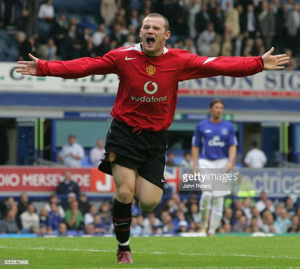Wayne Rooney of Manchester United celebrates scoring the second goal during the Barclays Premiership match between Everton and Manchester United at...