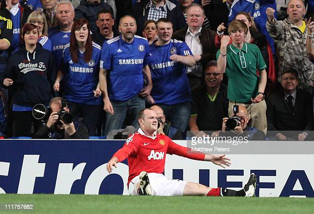 Wayne Rooney of Manchester United celebrates scoring their first goal during the UEFA Champions League QuarterFinal first leg match between Chelsea...