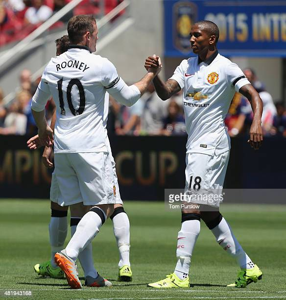 Wayne Rooney of Manchester United celebrates scoring their first goal during the International Champions Cup 2015 match between Manchester United and...
