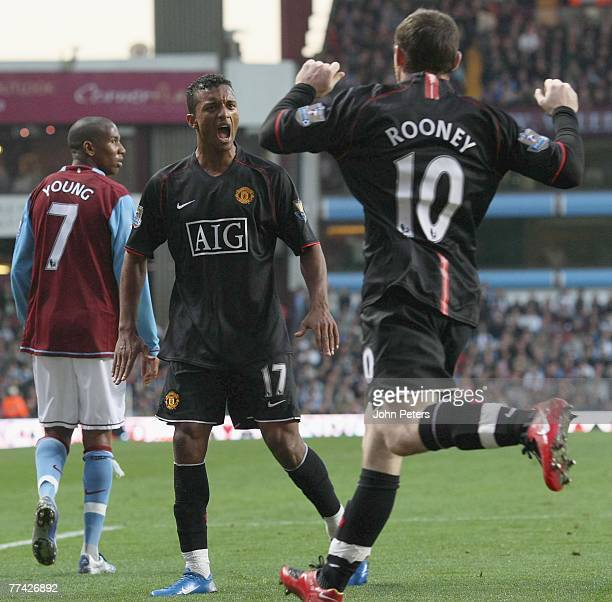 Wayne Rooney of Manchester United celebrates scoring their first goal during the Barclays FA Premier League match between Aston Villa and Manchester...