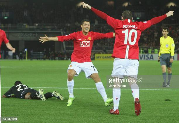 Wayne Rooney of Manchester United celebrates scoring their first goal during the FIFA World Club Cup Final match between LDU Quito and Manchester...