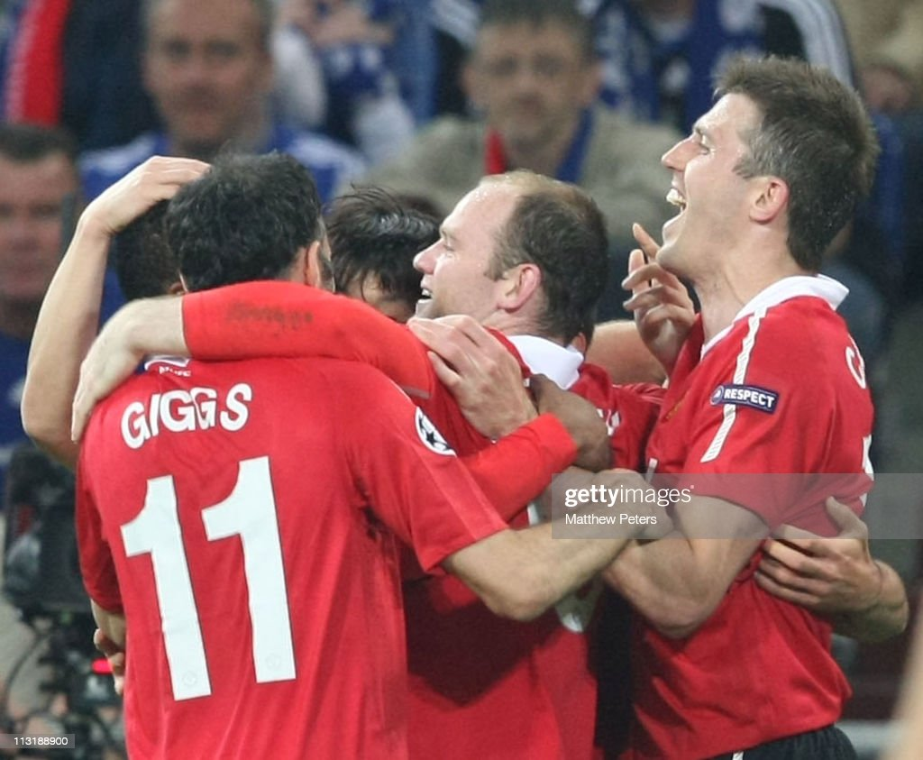 Wayne Rooney of Manchester United celebrates scoring their second goal during the UEFA Champions League SemiFinal frist leg match between Schalke 04...