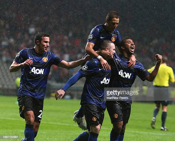 Wayne Rooney of Manchester United celebrates scoring their second goal during the UEFA Champions League Group H match between SC Braga and Manchester...