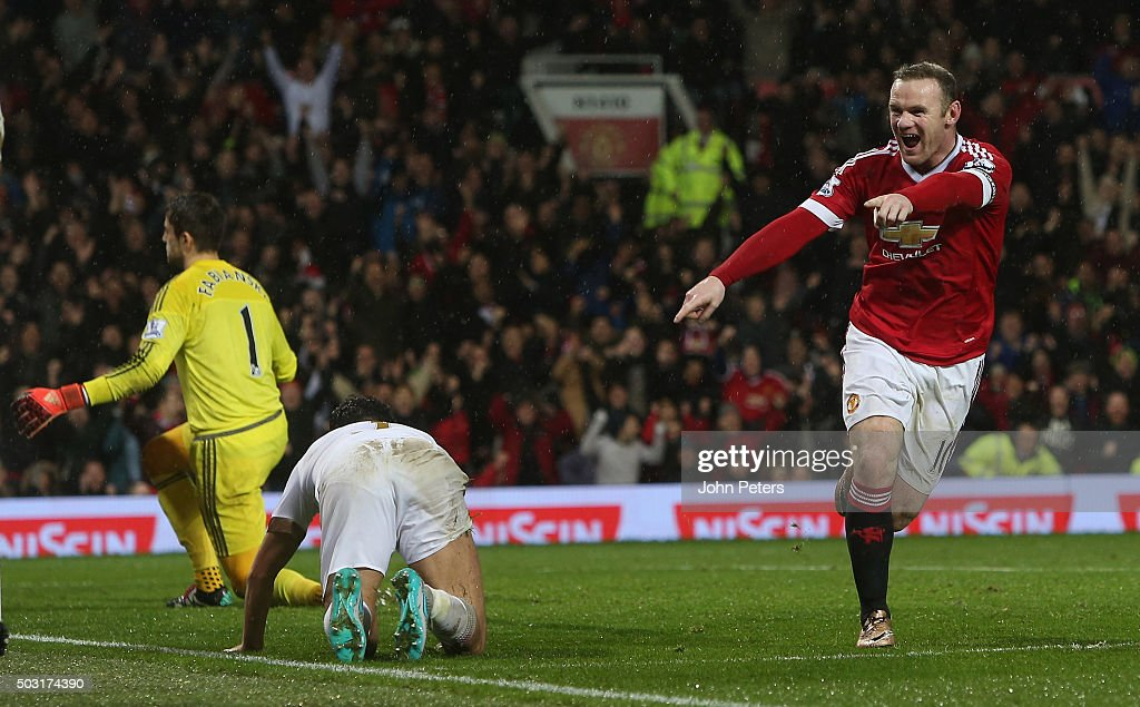 Wayne Rooney of Manchester United celebrates scoring their second goal during the Barclays Premier League match between Manchester United and Swansea City at Old Trafford on January 2, 2016 in Manchester, England.