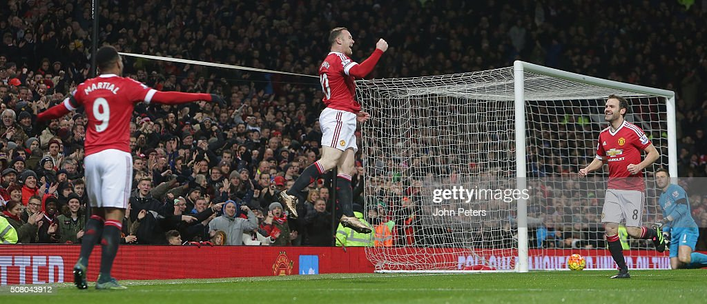 Wayne Rooney of Manchester United celebrates scoring their third goal during the Barclays Premier League match between Manchester United and Stoke City at Old Trafford on February 2, 2016 in Manchester, England.