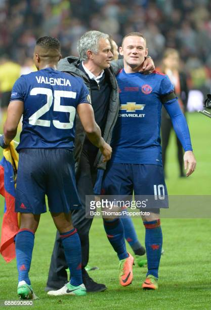 Wayne Rooney of Manchester United celebrates victory with manager Jose Mourinho after the UEFA Europa League final between Ajax and Manchester United...