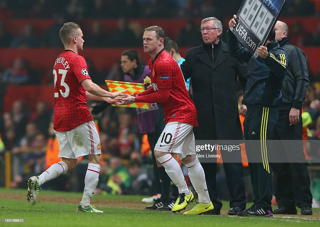 Wayne Rooney of Manchester United comes on as a substitute during the UEFA Champions League Round of 16 Second leg match between Manchester United and Real Madrid at Old Trafford on March 5, 2013 in Manchester, United Kingdom.