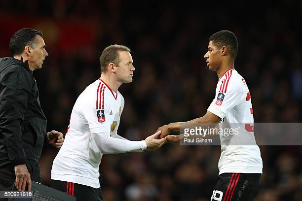 Wayne Rooney of Manchester United comes on as a substitute for Marcus Rashford during The Emirates FA Cup sixth round replay between West Ham United...