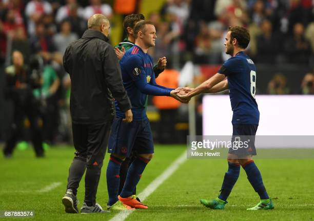Wayne Rooney of Manchester United comes on for Juan Mata of Manchester United during the UEFA Europa League Final between Ajax and Manchester United...
