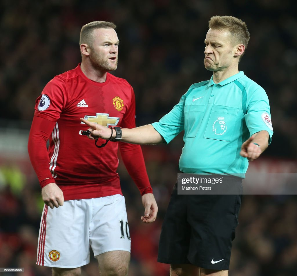 Wayne Rooney of Manchester United complains to Referee Mike Jones during the Premier League match between Manchester United and Hull City at Old Trafford on February 1, 2017 in Manchester, England.
