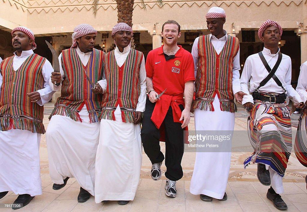 Wayne Rooney of Manchester United dances at the palace of HRH Prince Abdullah bin Mosa'ad bin Abdullaziz on January 23 2008, in Riyadh, Saudi Arabia.