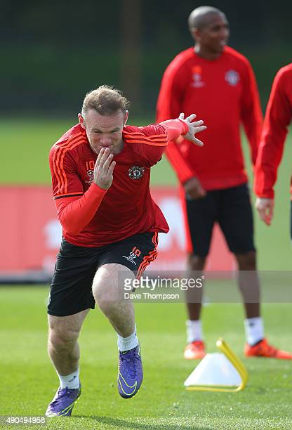 Wayne Rooney of Manchester United during a Manchester United training session at the Aon Training Complex on September 29 2015 in Manchester England