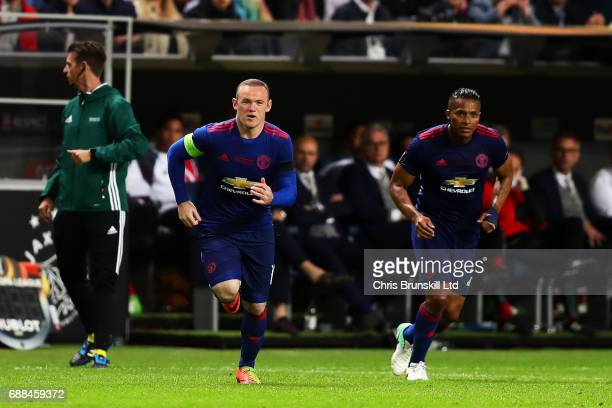 Wayne Rooney of Manchester United enters the field wearing the captain's armband during the UEFA Europa League Final match between Ajax and...