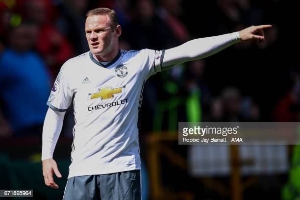 Wayne Rooney of Manchester United gestures during the Premier League match between Burnley and Manchester United at Turf Moor on April 23 2017 in...