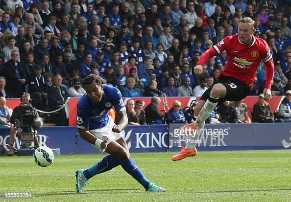 Wayne Rooney of Manchester United has a shot on goal during the Barclays Premier League match between Leicester City and Manchester United at The...