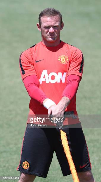 Wayne Rooney of Manchester United in action during a first team training session as part of their preseason tour of the United States on July 21 2014...
