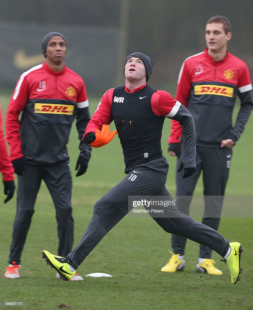 <a gi-track='captionPersonalityLinkClicked' href=/galleries/search?phrase=Wayne+Rooney&family=editorial&specificpeople=157598 ng-click='$event.stopPropagation()'>Wayne Rooney</a> of Manchester United in action during a first team training session at Carrington Training Ground on January 11, 2013 in Manchester, England.