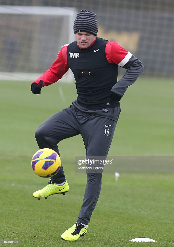 Wayne Rooney of Manchester United in action during a first team training session at Carrington Training Ground on January 11, 2013 in Manchester, England.