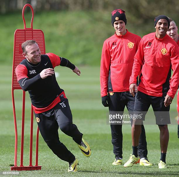 Wayne Rooney of Manchester United in action during a first team training session ahead of their UEFA Champions League quarterfinal second leg match...
