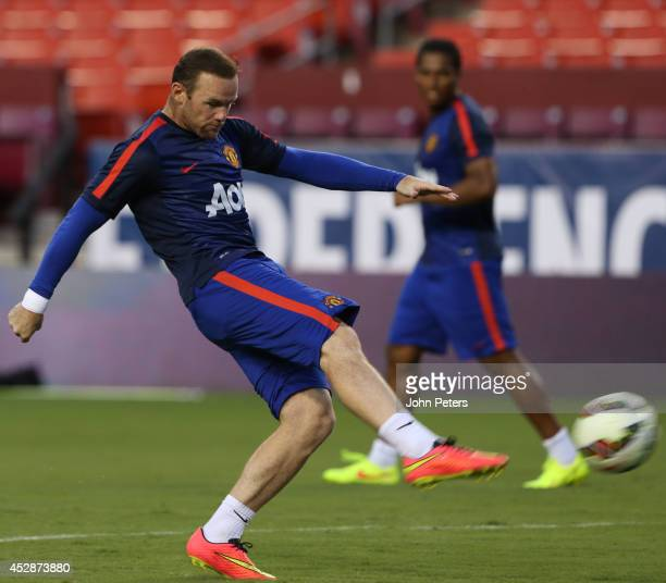 Wayne Rooney of Manchester United in action during an open training session as part of their preseason tour of the United States at FedExField on...