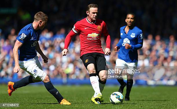 Wayne Rooney of Manchester United in action during the Barclays Premier League match between Everton and Manchester United at Goodison Park on April...
