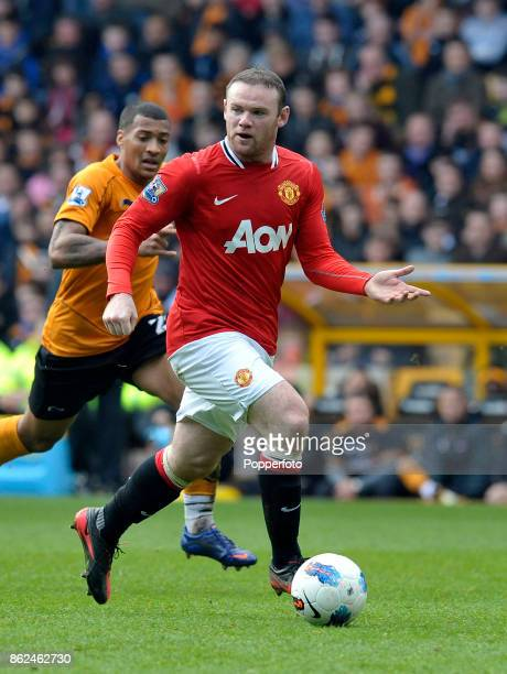 Wayne Rooney of Manchester United in action during the Barclays Premier League match between Wolverhampton Wanderers and Manchester United at...