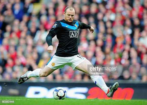 Wayne Rooney of Manchester United in action during the Barclays Premier League match between Liverpool and Manchester United at Anfield on October 25...