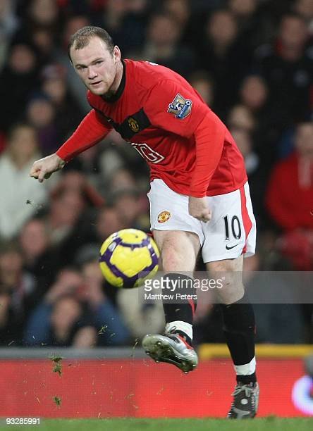 Wayne Rooney of Manchester United in action during the Barclays Premier League match between Manchester United and Everton at Old Trafford on...
