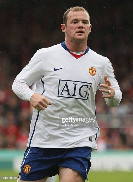 Wayne Rooney of Manchester United in action during the preseason friendly match between Aberdeen and Manchester United at Pittodrie on July 12 2008...