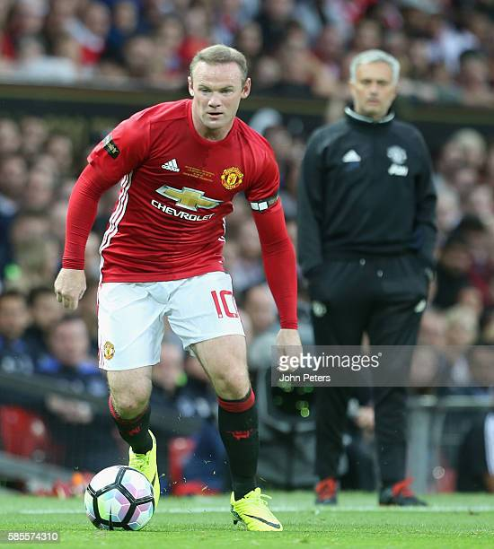 Wayne Rooney of Manchester United in action during the Wayne Rooney Testimonial match between Manchester United and Everton at Old Trafford on August...