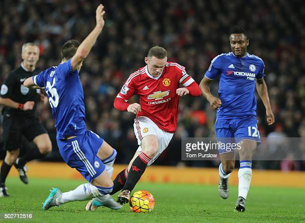 Wayne Rooney of Manchester United in action with John Terry of Chelsea during the Barclays Premier League match between Manchester United and Chelsea...