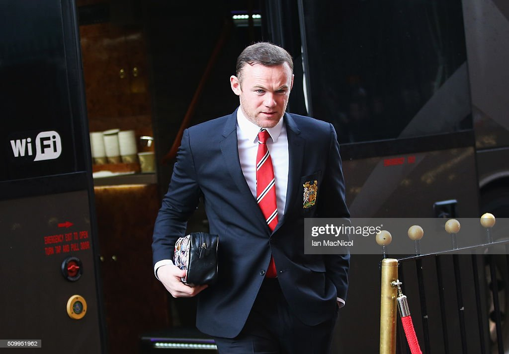 <a gi-track='captionPersonalityLinkClicked' href=/galleries/search?phrase=Wayne+Rooney&family=editorial&specificpeople=157598 ng-click='$event.stopPropagation()'>Wayne Rooney</a> of Manchester United is seen on arrival at the stadium prior to the Barclays Premier League match between Sunderland and Manchester United at the Stadium of Light on February 13, 2016 in Sunderland, England.