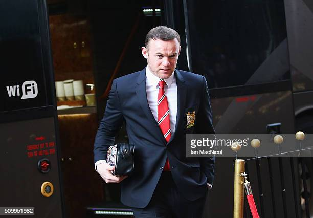 Wayne Rooney of Manchester United is seen on arrival at the stadium prior to the Barclays Premier League match between Sunderland and Manchester...
