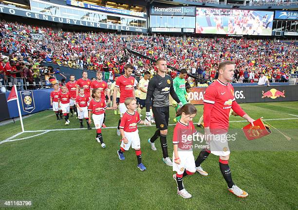 Wayne Rooney of Manchester United leads the team out ahead of the International Champions Cup 2015 match between Manchester United and Club America...