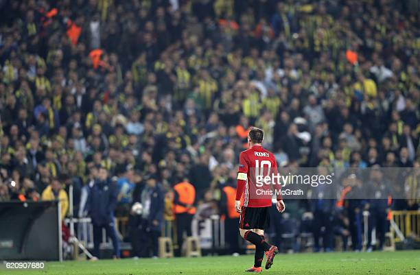 Wayne Rooney of Manchester United looks dejected during the UEFA Europa League Group A match between Fenerbahce SK and Manchester United FC at Sukru...